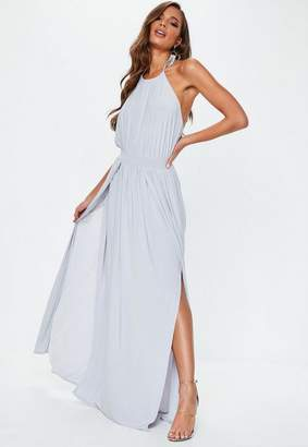 Missguided Grey Slinky Halterneck Maxi Dress