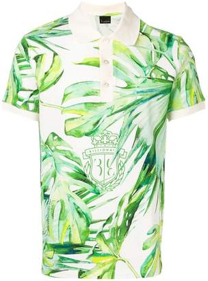 Billionaire leaf print polo shirt