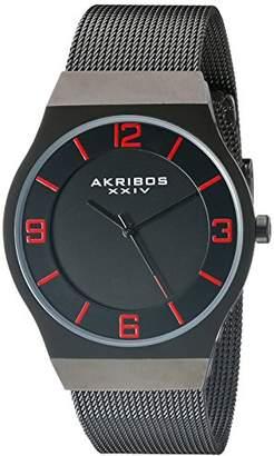 Akribos XXIV Men's AK851BK Round Dial Three Hand Quartz Bracelet Watch