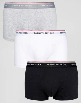 Tommy Hilfiger Stretch Low Rise 3 Pack Trunks In Black/White/Grey Marl