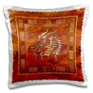 Dragon Optical 3dRose Gold on Orange - Pillow Case, 16 by 16-inch