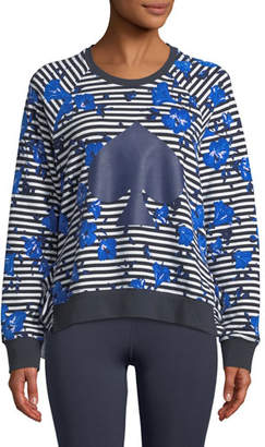 Kate Spade Hibiscus Striped Ruffle Pullover