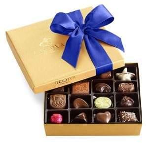 Godiva Chocolatier Assorted Chocolate Gold Gift Box, Royal Ribbon, 19 pc.