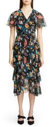 Etro Fern & Floral Print Ruffle Wrap Dress