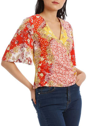 Floral Wrap Top with Side Button
