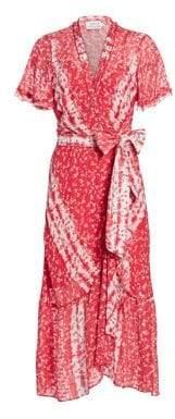 Tanya Taylor Blaire Printed Asymmetric Wrap Dress