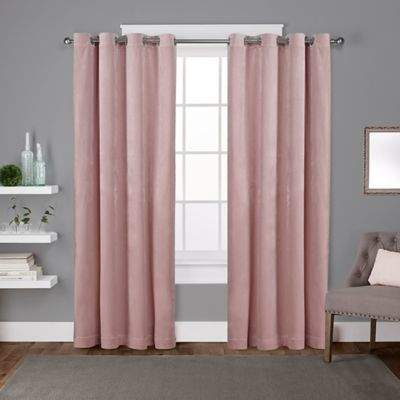 Velvet 96-Inch Grommet Top Window Curtain Panel Pair in Blush