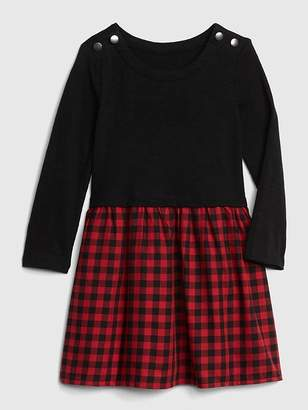 Gap Plaid Mix-Fabric Dress