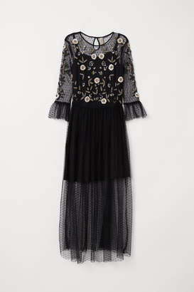 H&M Mesh Dress with Embroidery - Black