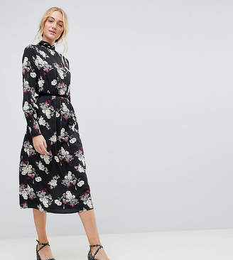 282aa59a1d5 Influence Tall Velvet Trim Detail Floral Midi Dress