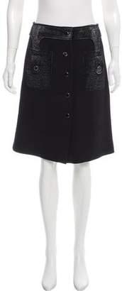 Michael Kors Wool Button-Up Skirt
