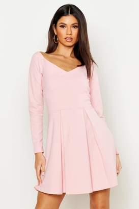 boohoo Sweetheart Long Sleeve Box Pleat Skater Dress