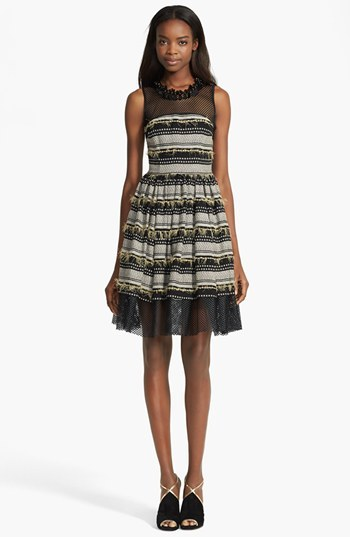 Tracy Reese Embellished Mesh Detail Mélange Dress