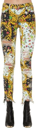 Versace ARCHIVE PRINT DESTROYED SKINNY JEANS