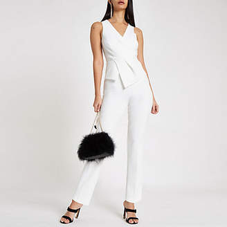 River Island White wrap front tapered leg jumpsuit