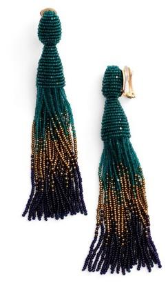Women's Oscar De La Renta Ombre Long Tassel Clip Earrings $395 thestylecure.com
