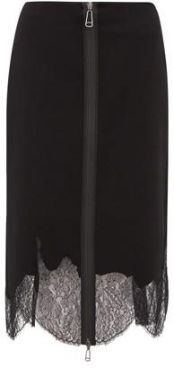 Fendi Zip Up Lace Trim Wool Pencil Skirt - Womens - Black