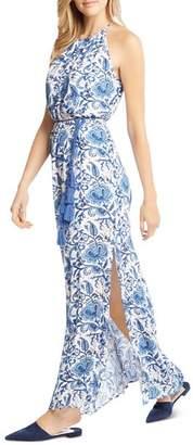 Karen Kane Floral-Print Side-Slit Maxi Dress