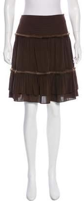 Blumarine Fur-Trimmed Silk Skirt