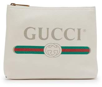 Gucci Logo Print Small Leather Pouch - Mens - White