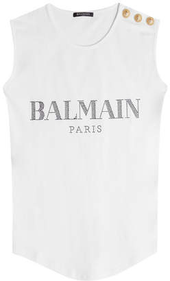 Balmain Embellished Cotton Tank with Embossed Buttons
