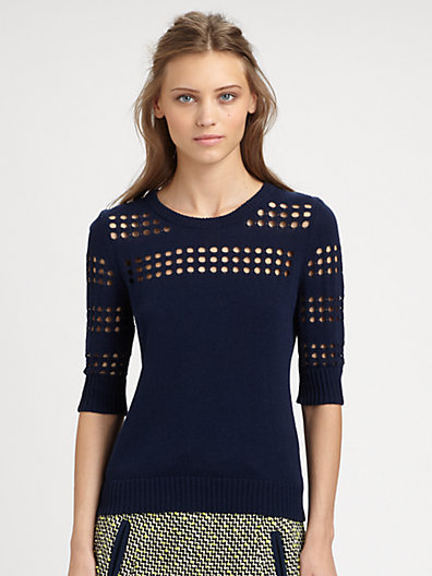 Milly Pointelle Cutout Sweater