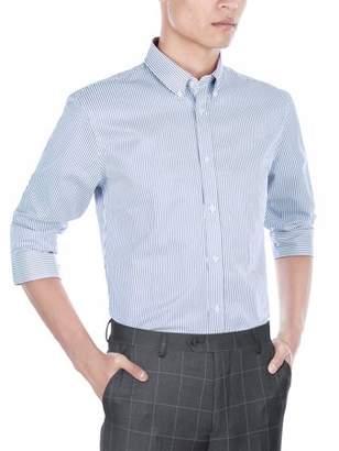 Verno Mens Slim Fit Long Sleeve Navy and White Stripe Dress Shirt