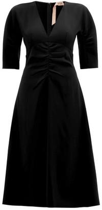 No.21 No. 21 - Ruched Crepe Midi Dress - Womens - Black