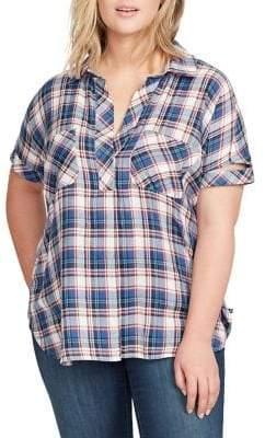 William Rast Plus Lydia Short-Sleeve Plaid Top