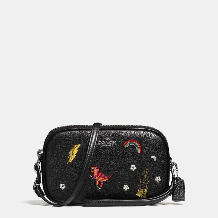 Coach  COACH Coach Crossbody Clutch In Grain Leather With Souvenir Embroidery