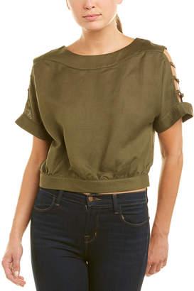 J.o.a. Cutout Sleeve Linen-Blend Top