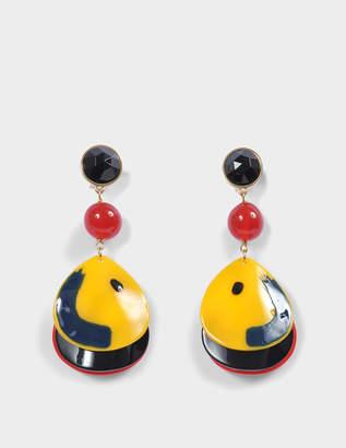 Giorgio Armani Plexi Ball Shape Earrings in Multicolour Acetate