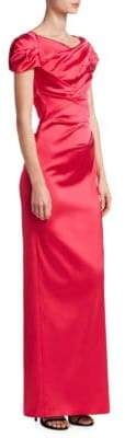 Talbot Runhof Draped Satin Gown