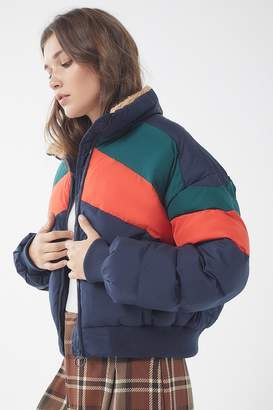 Urban Outfitters Chevron Cropped Puffer Jacket