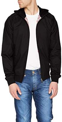 Ben Sherman Men's Harrington Hoodie Jacket, (Black 290), Medium