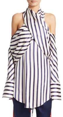 Monse Silk Pinstripe Cold-Shoulder Shirt