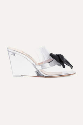 Miu Miu Bow-embellished Perspex And Metallic Leather Wedge Sandals - Silver