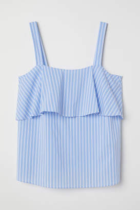 H&M Camisole Top with Flounce - White