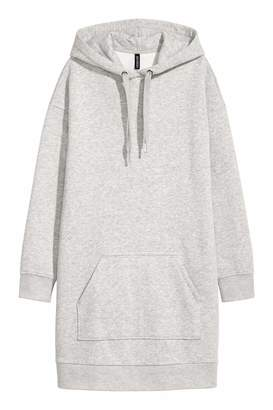 H&M Hooded Sweatshirt Dress - Light gray melange - Women