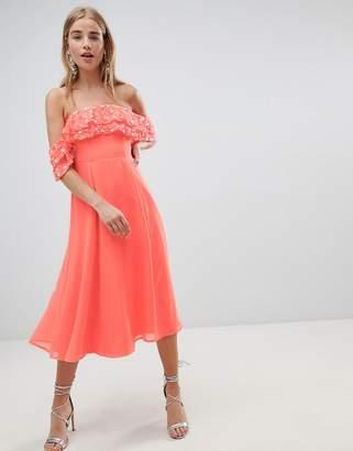 Bardot ASOS DESIGN midi dress with embellished frill top