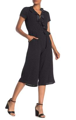 London Times Polka Dot Ruffled Culotte Jumpsuit