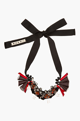 Marni EDITION Burgundy Beaded Ribbon-Tied Statement Necklace