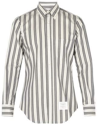 Thom Browne Striped Cotton Shirt - Mens - Navy