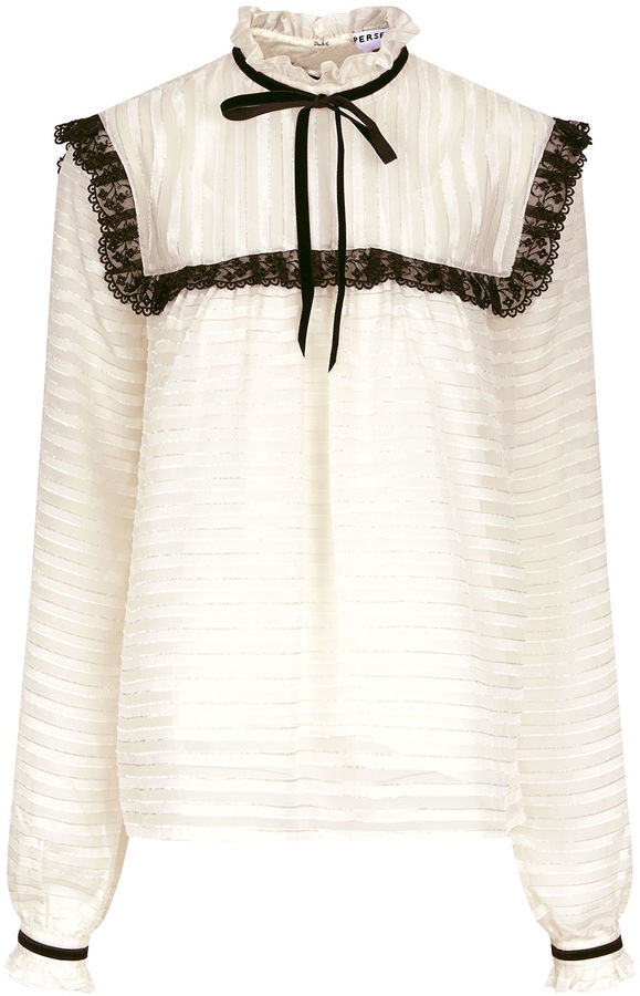 Perseverance London Ivory Victoriana Striped Lace Blouse