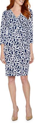 Liz Claiborne 3/4 Sleeve Geometric Sheath Dress