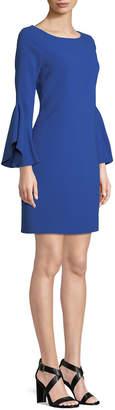 Elie Tahari Dori Boat-Neck Flared-Sleeve Crepe A-Line Dress