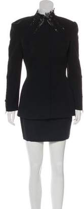 Thierry Mugler Lace-Trimmed Wool Skirt Suit