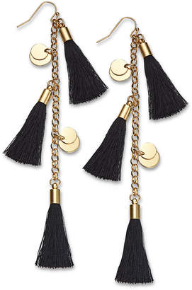 INC International Concepts I.n.c. Gold-Tone Disc & Tassel Linear Drop Earrings, Created for Macy's