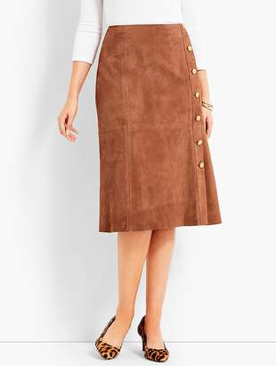 Talbots Suede Gold-Button Skirt