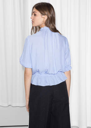 Gathered High Neck Blouse